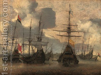 Dutch men-o-war anchored off the coast by Hendrik van Anthonissen - Reproduction Oil Painting