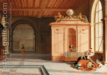 The Interior of a Palace with Jael and Sisera by Hendrik van Steenwyck - Reproduction Oil Painting