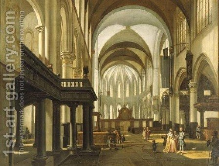 A view of the Oude Kerk, Amsterdam, looking towards the choir with an elegant couple and children in the nave by Hendrick van Streeck - Reproduction Oil Painting