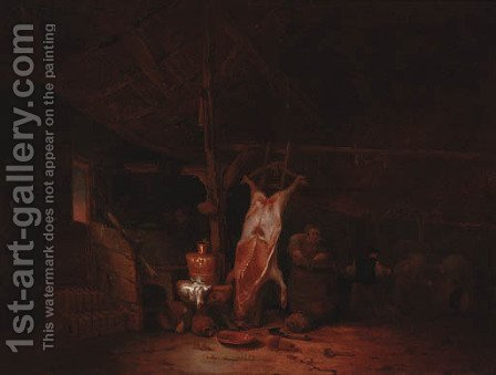 The interior of a barn, with a slaughtered pig, a maid and two fighting peasants by Hendricksz. Bogaert - Reproduction Oil Painting