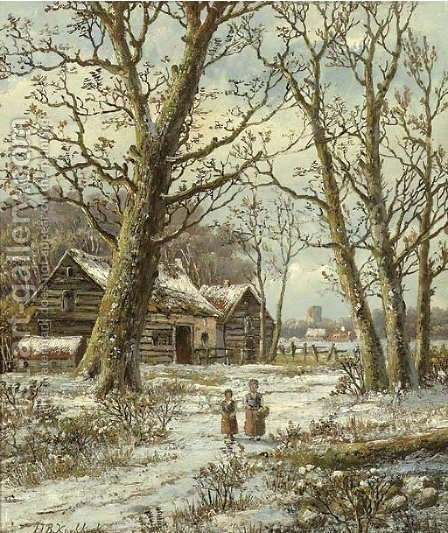 Walking in winter by Hendrik Barend Koekkoek - Reproduction Oil Painting