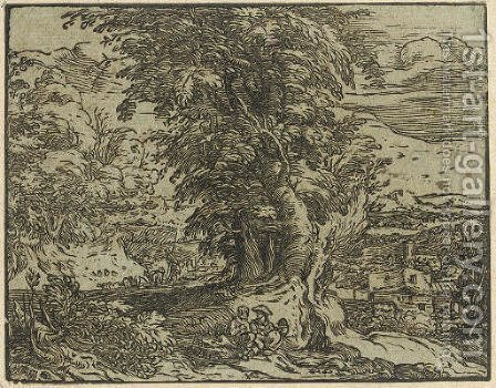 Landscape with Trees and a Shepherd Couple by Hendrick Goltzius - Reproduction Oil Painting