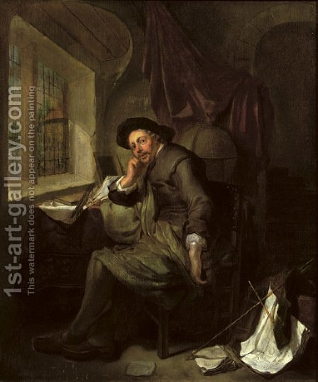 A scholar seated at his writing desk in an interior, books and documents in the foreground by Hendrick Heerschop or Herschop - Reproduction Oil Painting