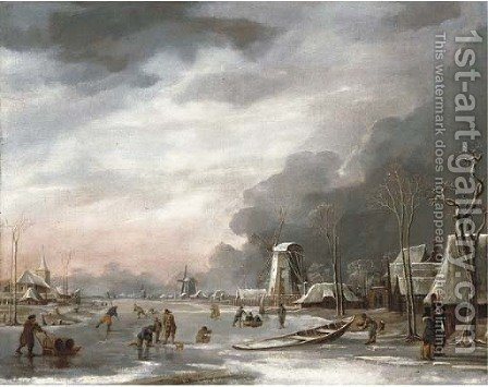 A winter landscape with villagers sledging on a frozen lake, a church beyond by Hendrik Jakobsz. Dubbels - Reproduction Oil Painting