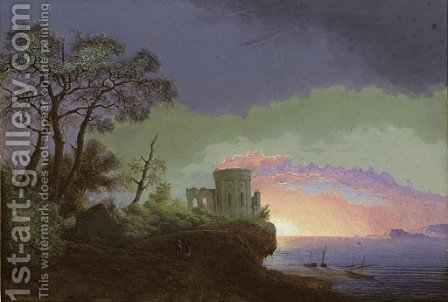 Landscape with a classical temple by Henri Knip - Reproduction Oil Painting