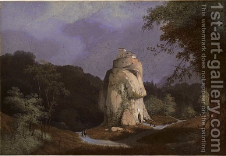 View of a monastery on a rocky hill by Henri Knip - Reproduction Oil Painting