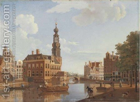 The Singel, Amsterdam, with the Munttorren by Hendrik Keun - Reproduction Oil Painting