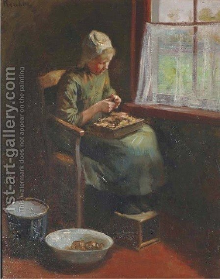 By the window by Hendrik Maarten Krabbe - Reproduction Oil Painting