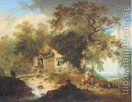 A wooded river landscape with peasants resting by a cottage by Hendrik Meijer - Reproduction Oil Painting