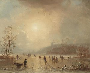 Skaters on a lake at dusk