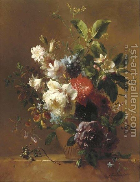 An exuberant still life with flowers by Hendrik Reekers - Reproduction Oil Painting
