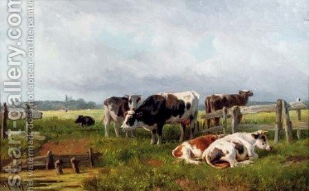 Cattle in the meadow by Hendrik Savrij - Reproduction Oil Painting