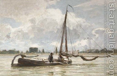 Fishermen at work by Hendrik Willebrord Jansen - Reproduction Oil Painting