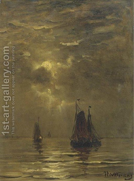 Bomschuiten setting out by moonlight by Hendrik Willem Mesdag - Reproduction Oil Painting