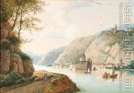 A view of the Pfalzgrafenstein at Kaub on the river Rhine, Gutenfels Castle above by Henri Knip - Reproduction Oil Painting