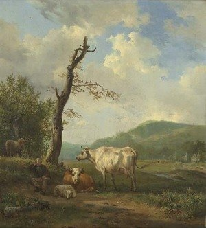 A hilly landscape with a shepherd and his flock resting by a tree