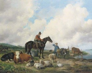 Oosterbeeks paard a farmer on horseback amongst his cattle