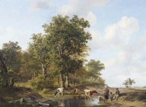 Peasants conversing at the edge of a forest on a sunny day