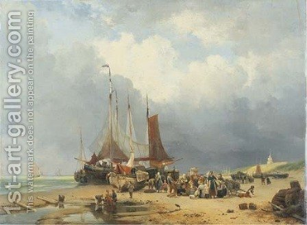 Sorting the catch on the beach of Scheveningen by Hendrikus van den Sande Bakhuyzen - Reproduction Oil Painting