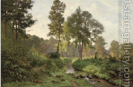 Woodland river at dusk by Henri Alphonse Barnoin - Reproduction Oil Painting