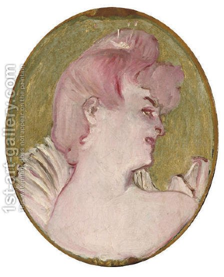 Portrait de femme (Medaillon pour la decoration du salon de la Maison de la rue d'Amboise, Paris) by Toulouse-Lautrec - Reproduction Oil Painting