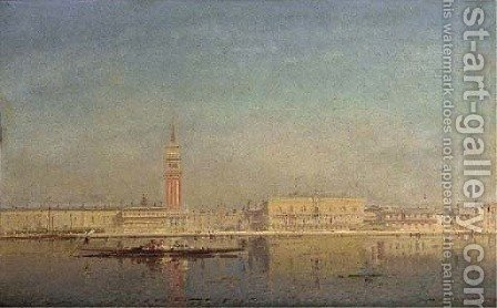 A gondola on the lagoon before Piazza St. Marco by Henri Duvieux - Reproduction Oil Painting
