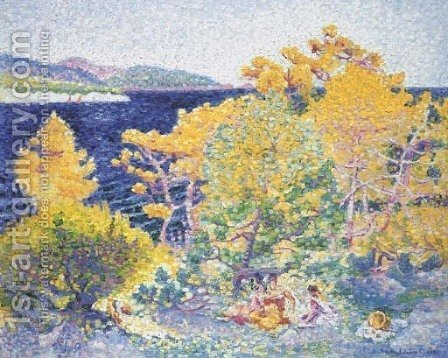 La sieste au bord de la mer by Henri Edmond Cross - Reproduction Oil Painting