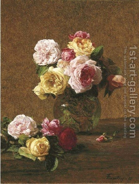 Roses 6 by Ignace Henri Jean Fantin-Latour - Reproduction Oil Painting