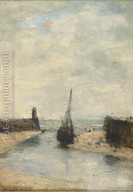 Low tide, Port de Trouville by Henri Gervex - Reproduction Oil Painting