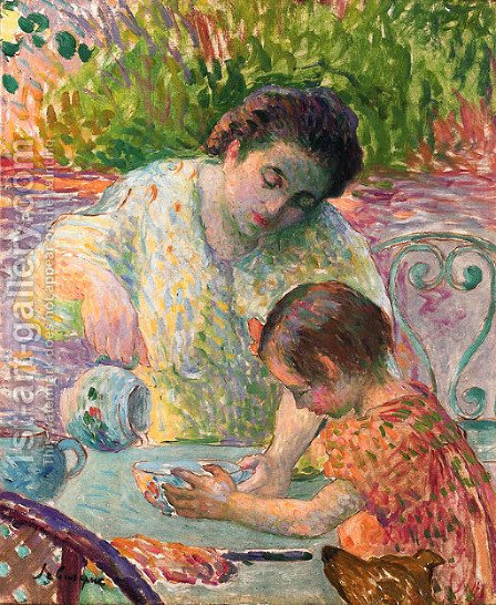 Le petit dejeuner, Lagny by Henri Lebasque - Reproduction Oil Painting
