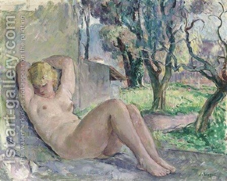 Nu assis dans un jardin by Henri Lebasque - Reproduction Oil Painting