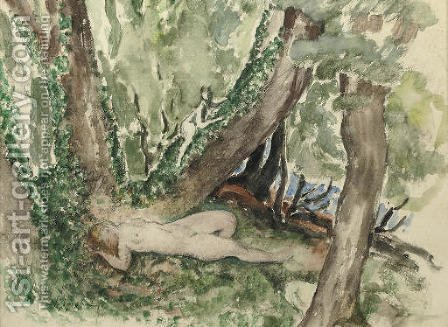 Nude in a forest with satyr by Henri Lebasque - Reproduction Oil Painting