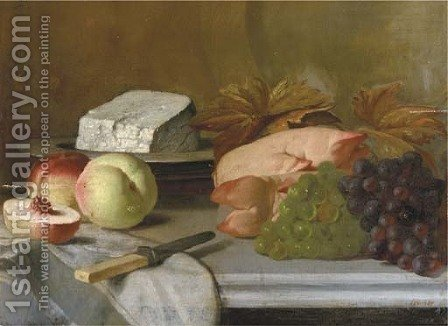 A kitchen still life by Henri Robbe - Reproduction Oil Painting