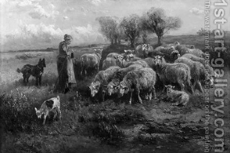 A young shepherdess with flock by Henri Schouten - Reproduction Oil Painting