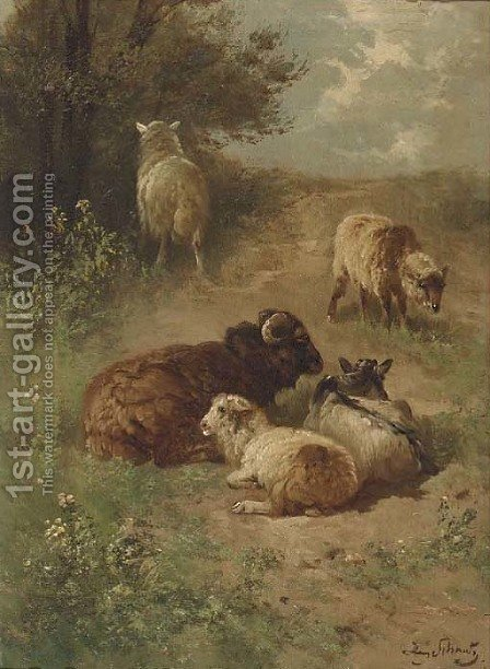 Sheep on a sandy track by Henri Schouten - Reproduction Oil Painting
