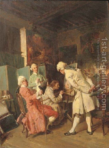 Observing an artist at work by Henri Van Wijk - Reproduction Oil Painting