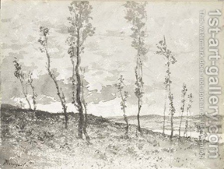An extensive landscape seen through an avenue of poplar trees by Henri-Joseph Harpignies - Reproduction Oil Painting