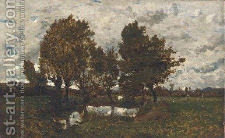 Paysage pres d'un village by Henri-Joseph Harpignies - Reproduction Oil Painting