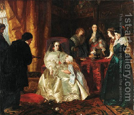 The despair of Henrietta Maria over the death of her husband King Charles I by Henrietta Mary Ward - Reproduction Oil Painting