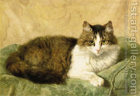 A natural pose by Henriette Ronner-Knip - Reproduction Oil Painting