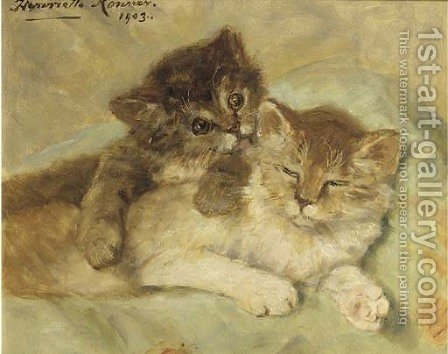 A playfull gesture by Henriette Ronner-Knip - Reproduction Oil Painting