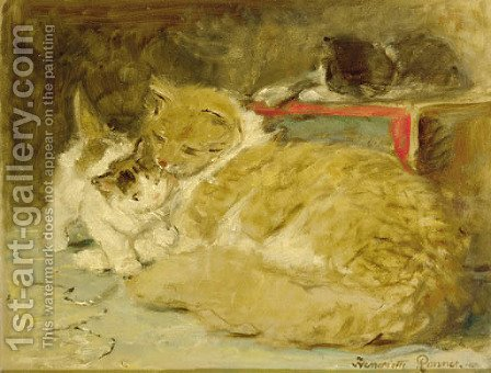 Mother's care - a sketch by Henriette Ronner-Knip - Reproduction Oil Painting