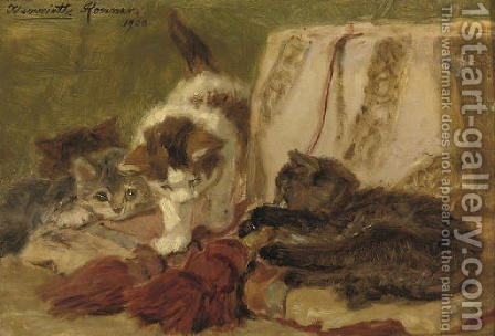 Playful kittens 2 by Henriette Ronner-Knip - Reproduction Oil Painting
