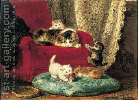 The little badminton players by Henriette Ronner-Knip - Reproduction Oil Painting