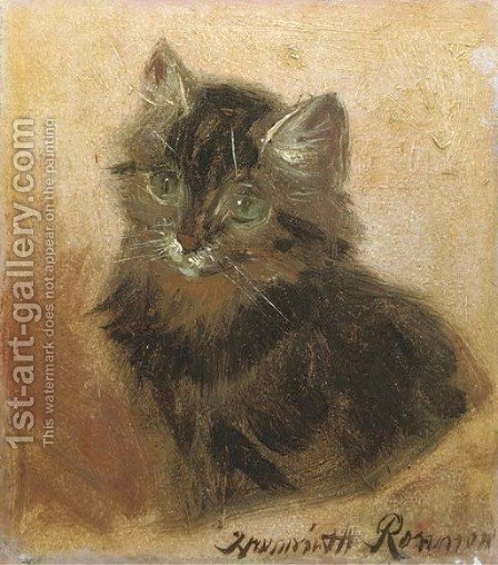 The little kitten by Henriette Ronner-Knip - Reproduction Oil Painting