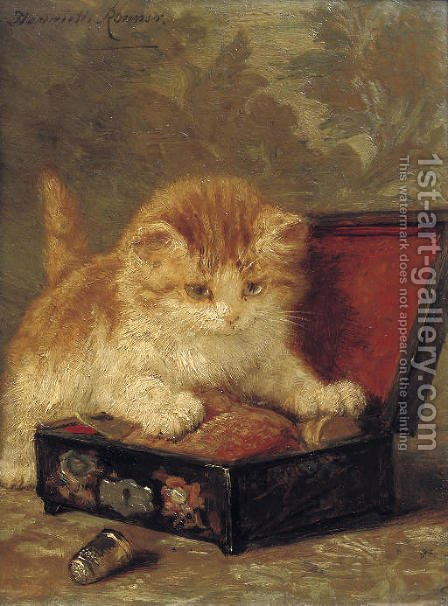 The sewing box by Henriette Ronner-Knip - Reproduction Oil Painting