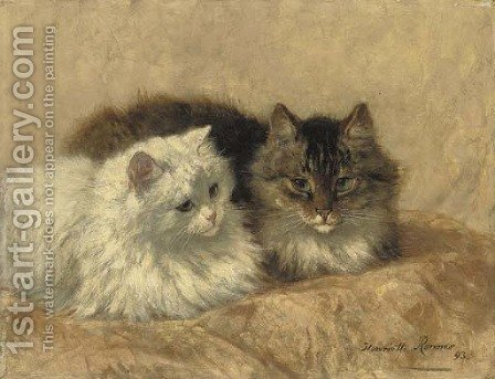 Two Resting Cats by Henriette Ronner-Knip - Reproduction Oil Painting