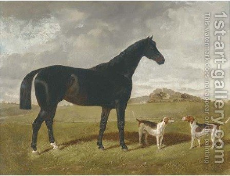 A dark brown hunter with two hounds in a landscape, with Brindle Church, Lancashire, beyond by Henry Woollett - Reproduction Oil Painting