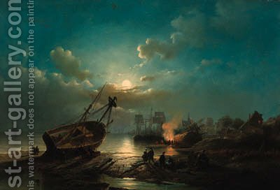 A fire on the shore in moonlight by Henry Adolphe Schaep - Reproduction Oil Painting