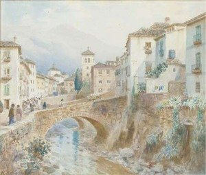Famous paintings of Spain: Figures by a bridge at Granada, Spain